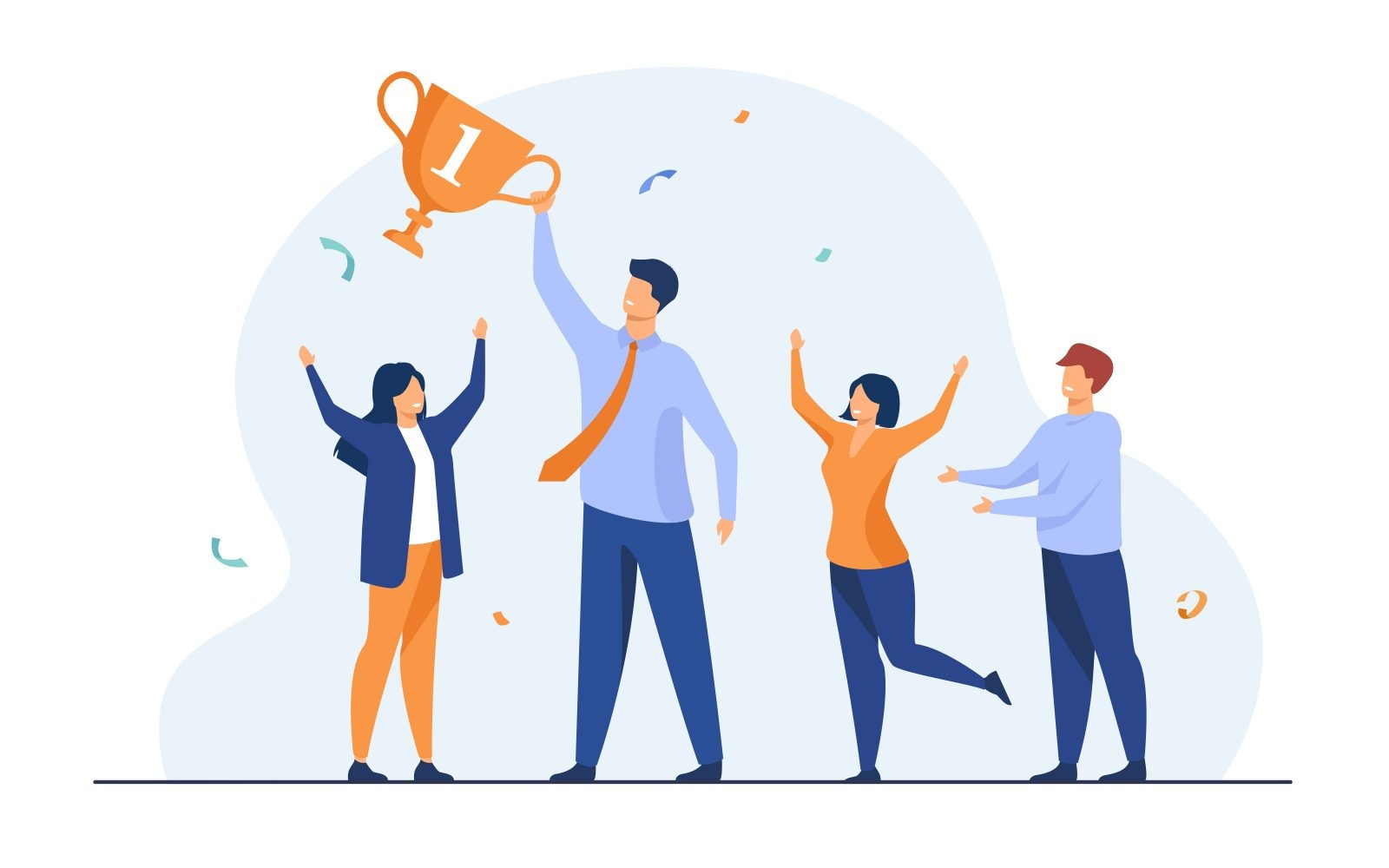 Teamwork and team success concept